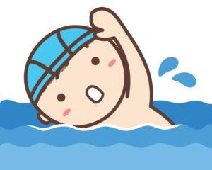 泳いでいる男の子